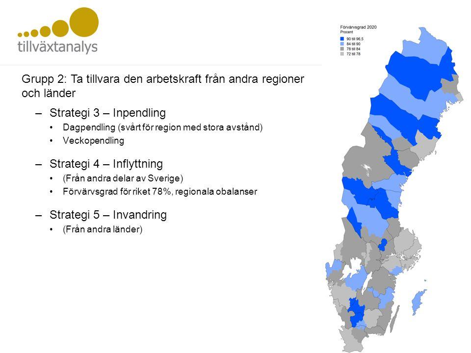 –Strategi 3 – Inpendling •Dagpendling (svårt för region med stora avstånd) •Veckopendling –Strategi 4 – Inflyttning •(Från andra delar av Sverige) •Fö