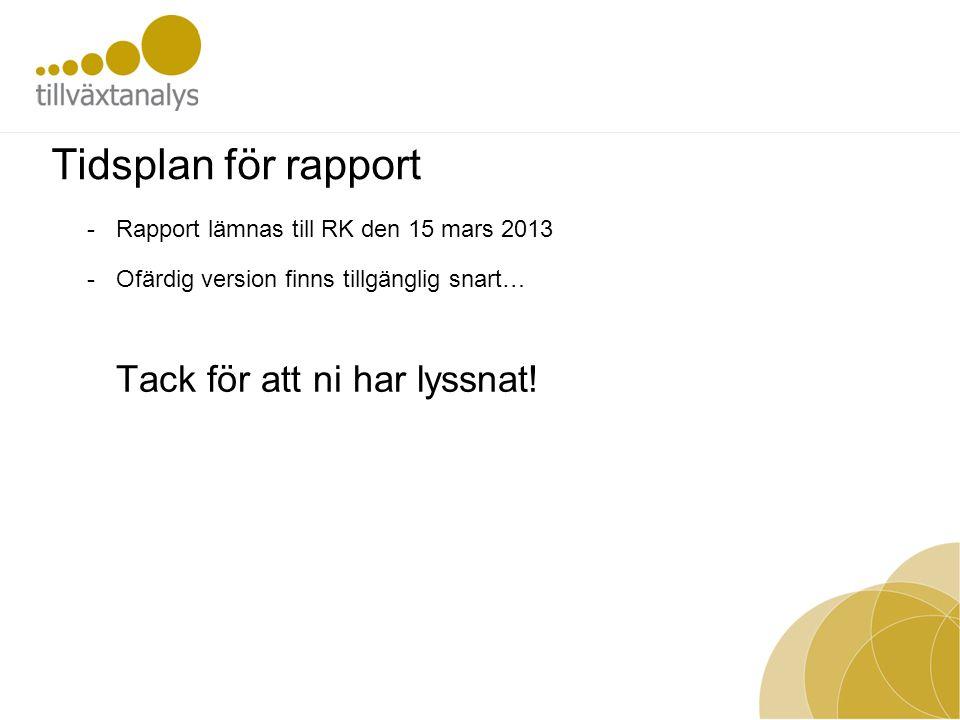 Tidsplan för rapport -Rapport lämnas till RK den 15 mars 2013 -Ofärdig version finns tillgänglig snart… Tack för att ni har lyssnat!