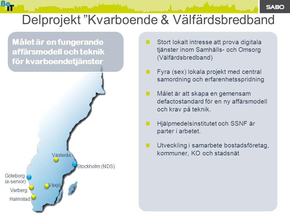  Stort lokalt intresse att prova digitala tjänster inom Samhälls- och Omsorg (Välfärdsbredband)  Fyra (sex) lokala projekt med central samordning oc
