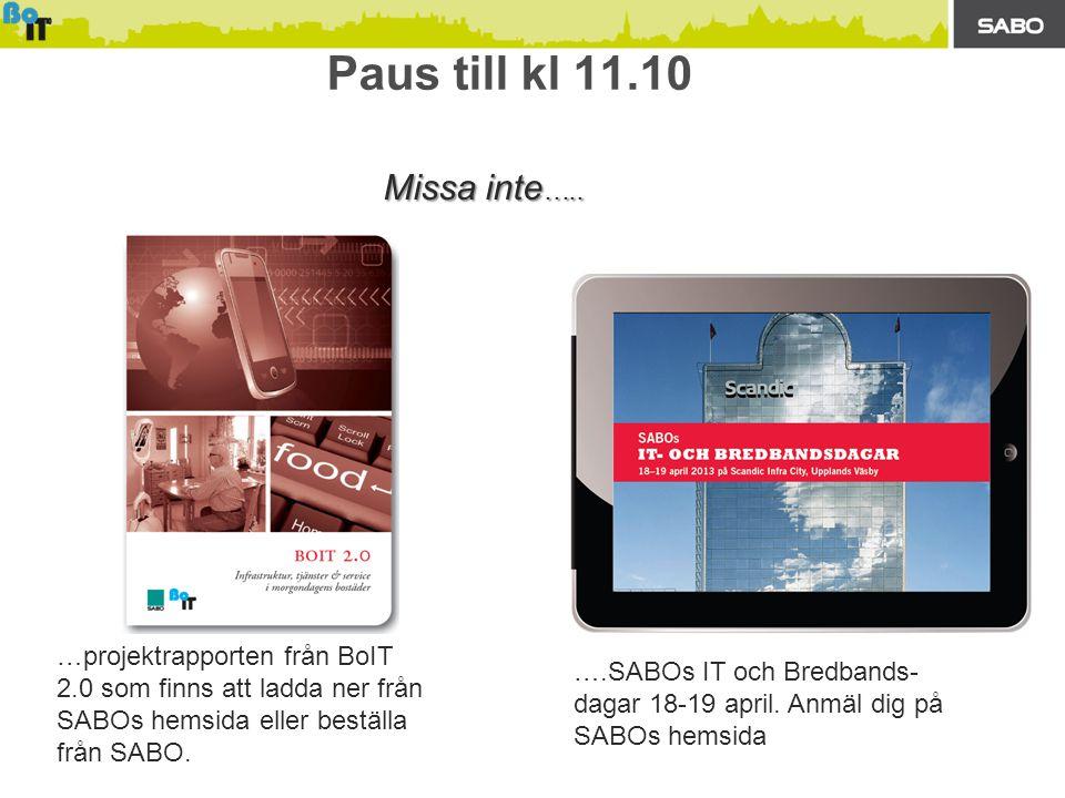 Paus till kl 11.10 …projektrapporten från BoIT 2.0 som finns att ladda ner från SABOs hemsida eller beställa från SABO.