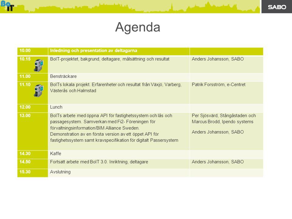Agenda 10.00Inledning och presentation av deltagarna 10.15BoIT-projektet, bakgrund, deltagare, målsättning och resultatAnders Johansson, SABO 11.00Bensträckare 11.10 BoITs lokala projekt.