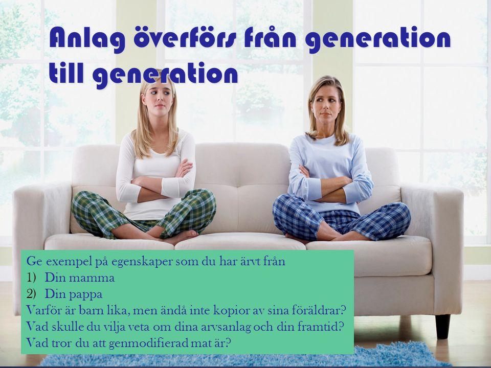 Anlag överförs från generation till generation Ge exempel på egenskaper som du har ärvt från 1)Din mamma 2)Din pappa Varför är barn lika, men ändå int