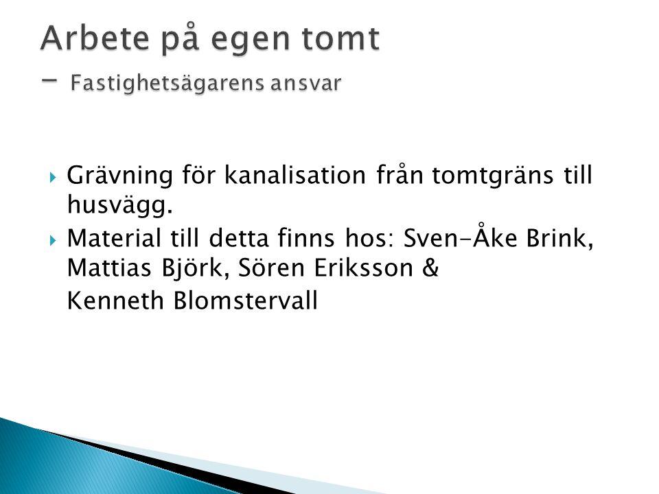  Grävning för kanalisation från tomtgräns till husvägg.  Material till detta finns hos: Sven-Åke Brink, Mattias Björk, Sören Eriksson & Kenneth Blom