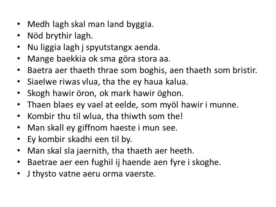 • Medh lagh skal man land byggia.• Nöd brythir lagh.