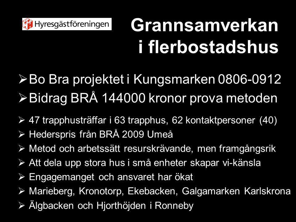 Grannsamverkan i flerbostadshus  Bo Bra projektet i Kungsmarken 0806-0912  Bidrag BRÅ 144000 kronor prova metoden  47 trapphusträffar i 63 trapphus