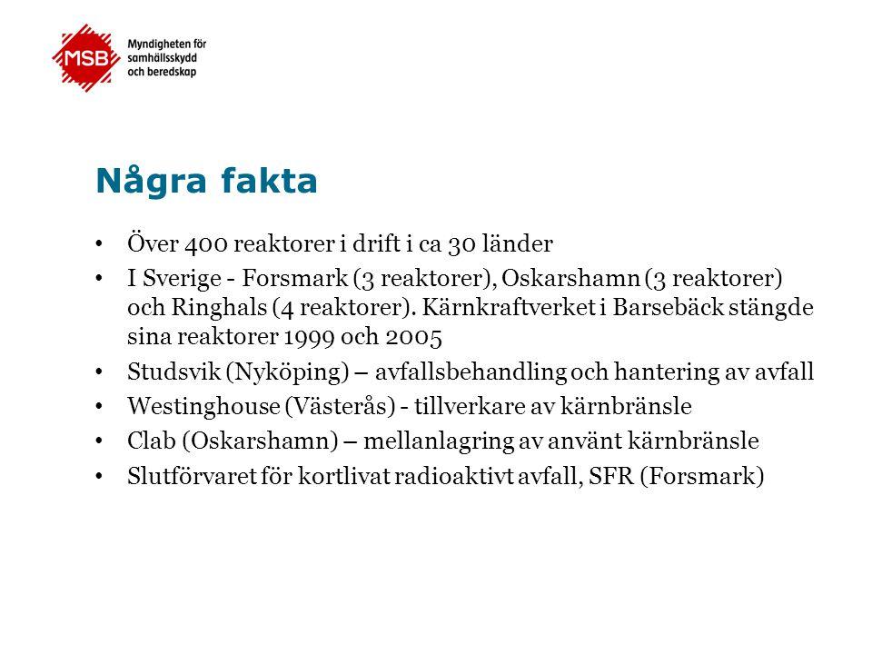 Några fakta • Över 400 reaktorer i drift i ca 30 länder • I Sverige - Forsmark (3 reaktorer), Oskarshamn (3 reaktorer) och Ringhals (4 reaktorer). Kär