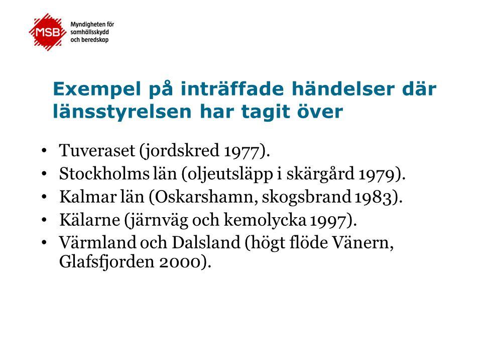 Exempel på inträffade händelser där länsstyrelsen har tagit över • Tuveraset (jordskred 1977). • Stockholms län (oljeutsläpp i skärgård 1979). • Kalma