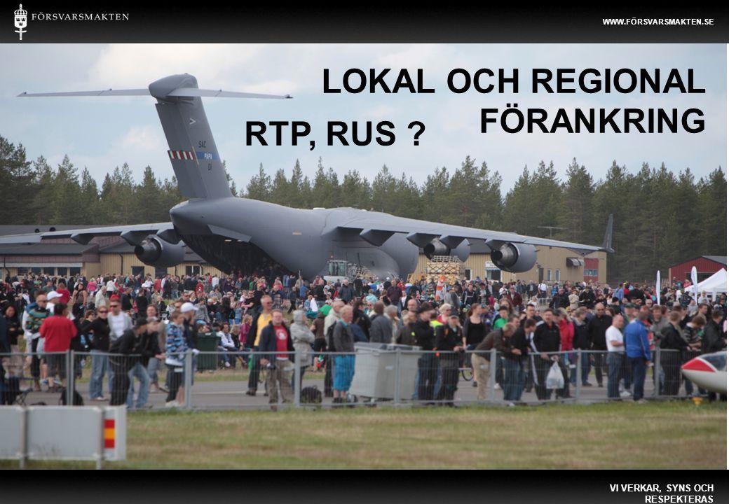 Regionalt Samverkansforum LOKAL OCH REGIONAL FÖRANKRING VI VERKAR, SYNS OCH RESPEKTERAS WWW.FÖRSVARSMAKTEN.SE RTP, RUS ?