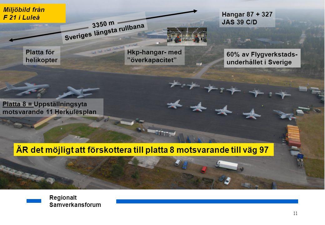 """Regionalt Samverkansforum 11 Hkp-hangar- med """"överkapacitet"""" Platta för helikopter Platta 8 = Uppställningsyta motsvarande 11 Herkulesplan 3350 m Sver"""