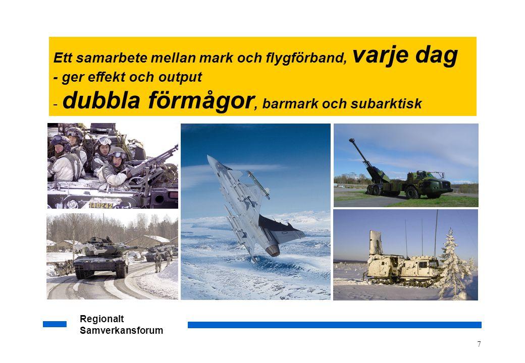 Regionalt Samverkansforum 7 Ett samarbete mellan mark och flygförband, varje dag - ger effekt och output - dubbla förmågor, barmark och subarktisk