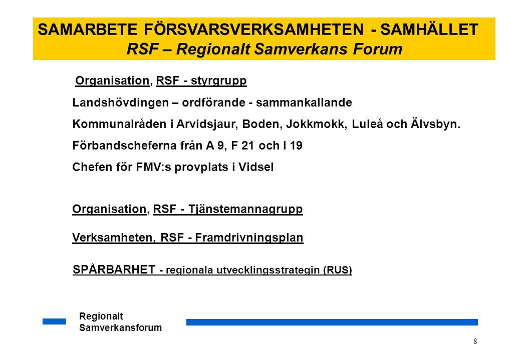 Regionalt Samverkansforum 9 SAMARBETE FÖRSVARSVERKSAMHETEN - SAMHÄLLET RSF – Regionalt Samverkans Forum Aktivt bidra i den säkerhetspolitiska debatten för att öka möjligheterna till en fortsatt stabil utveckling på Nordkalotten och inom Barentsregionen.