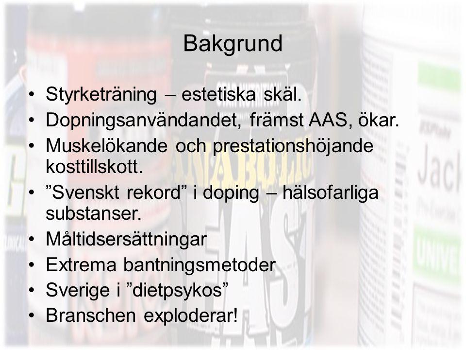 """Bakgrund •Styrketräning – estetiska skäl. •Dopningsanvändandet, främst AAS, ökar. •Muskelökande och prestationshöjande kosttillskott. •""""Svenskt rekord"""