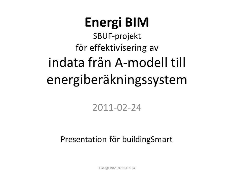 Begränsning • De i Sverige vanligaste programvarorna Revit Archicad IDA ICE VIP Energy Fokus på geometrier från arkitektmodell Energi BIM 2011-02-24