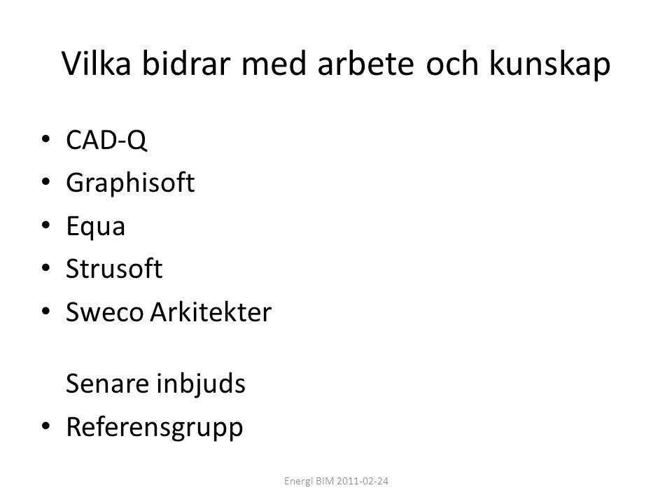 Vilka bidrar med arbete och kunskap • CAD-Q • Graphisoft • Equa • Strusoft • Sweco Arkitekter Senare inbjuds • Referensgrupp Energi BIM 2011-02-24