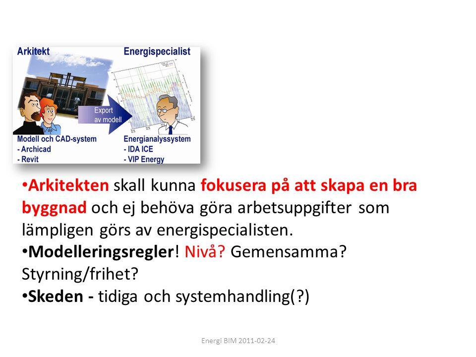 Energi BIM 2011-02-24 • Arkitekten skall kunna fokusera på att skapa en bra byggnad och ej behöva göra arbetsuppgifter som lämpligen görs av energispe