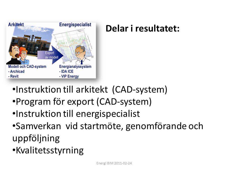 Energi BIM 2011-02-24 • Instruktion till arkitekt (CAD-system) • Program för export (CAD-system) • Instruktion till energispecialist • Samverkan vid s