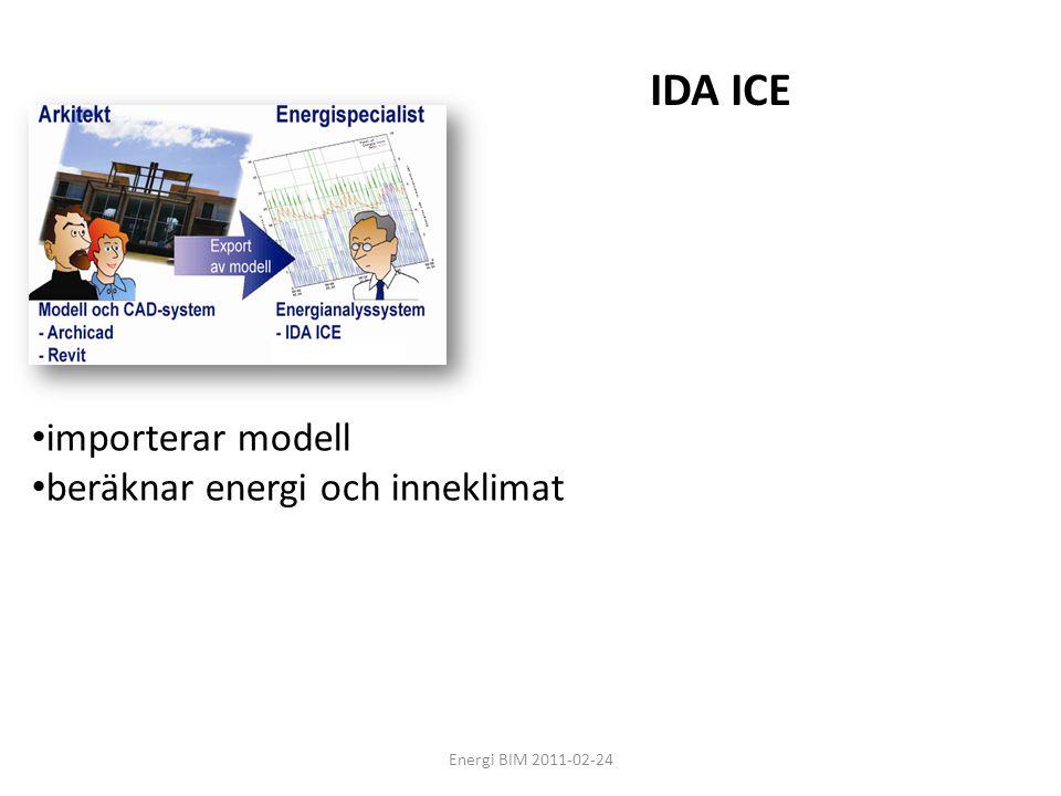 Energi BIM 2011-02-24 • importerar modell • beräknar energi och inneklimat IDA ICE