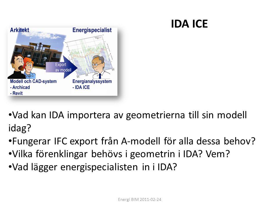Energi BIM 2011-02-24 • Vad kan IDA importera av geometrierna till sin modell idag? • Fungerar IFC export från A-modell för alla dessa behov? • Vilka