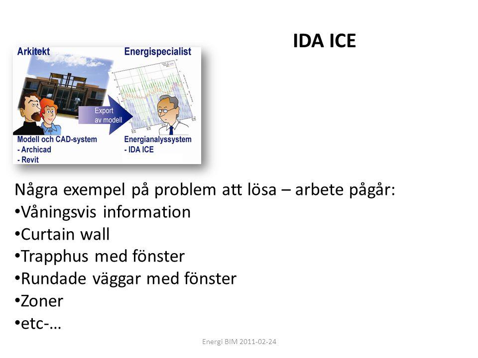 Energi BIM 2011-02-24 Några exempel på problem att lösa – arbete pågår: • Våningsvis information • Curtain wall • Trapphus med fönster • Rundade vägga