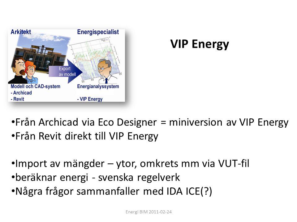 Energi BIM 2011-02-24 VIP Energy • Från Archicad via Eco Designer = miniversion av VIP Energy • Från Revit direkt till VIP Energy • Import av mängder