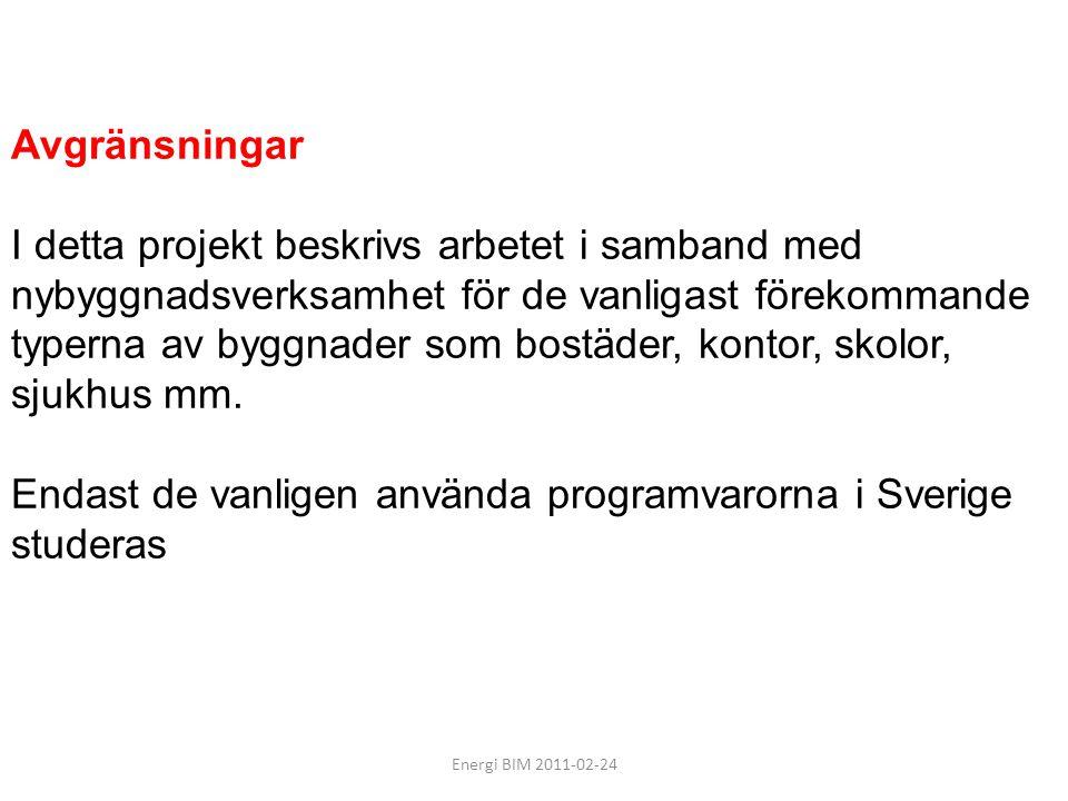 Energi BIM 2011-02-24 Resultat: -En översikt av analysverktyg som används i Sverige och deras informationsbehov vid olika ambitionsnivåer som grund för prioritering av arbetet i projektet.