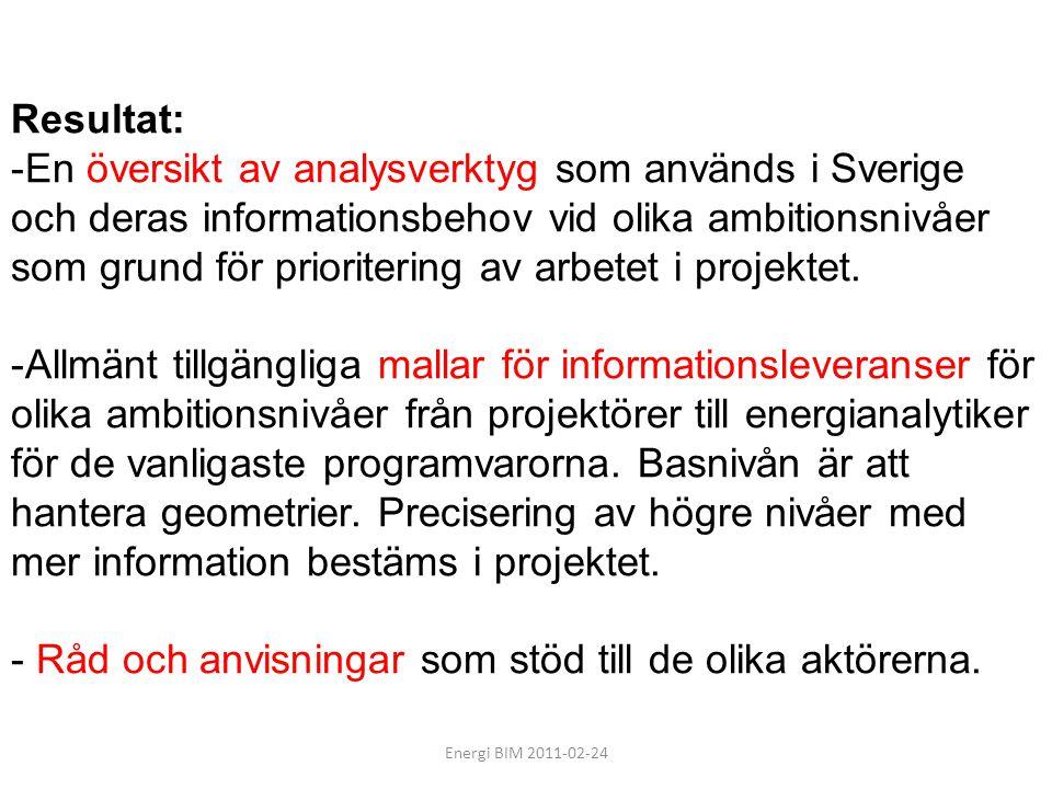 Energi BIM 2011-02-24 Resultat: -En översikt av analysverktyg som används i Sverige och deras informationsbehov vid olika ambitionsnivåer som grund fö