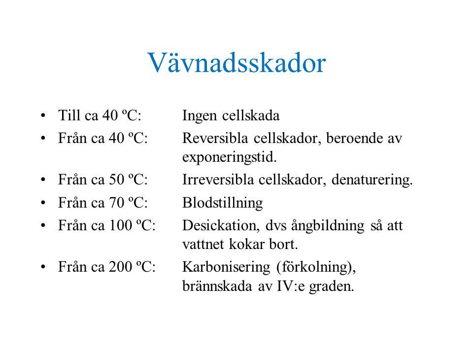 Vävnadsskador •Till ca 40 ºC:Ingen cellskada •Från ca 40 ºC:Reversibla cellskador, beroende av exponeringstid.