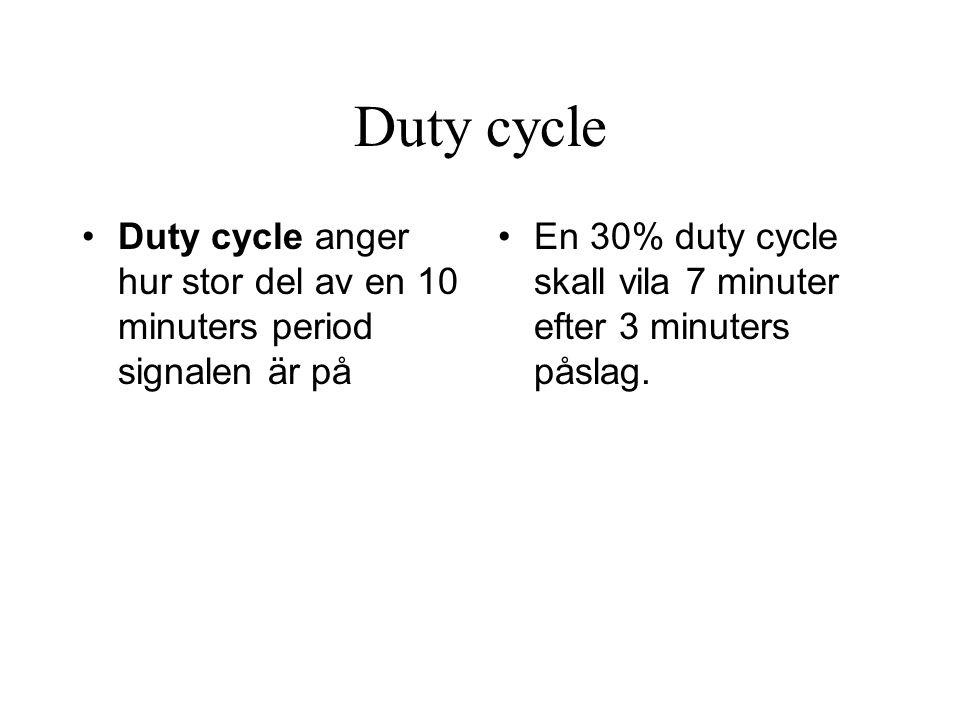 Duty cycle •Duty cycle anger hur stor del av en 10 minuters period signalen är på •En 30% duty cycle skall vila 7 minuter efter 3 minuters påslag.