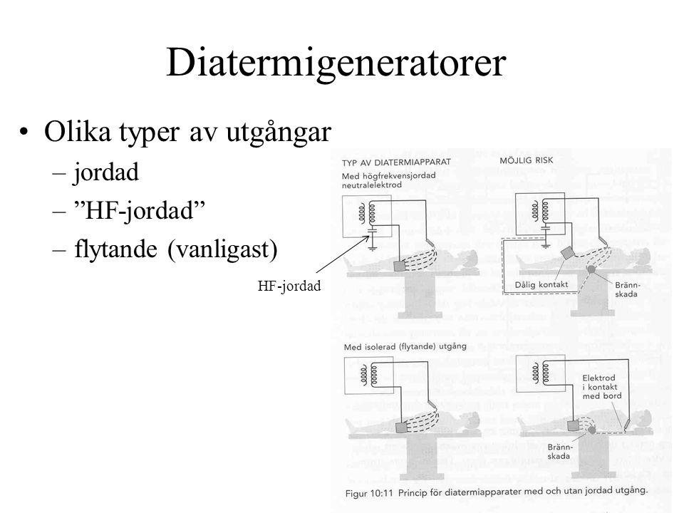 Diatermigeneratorer •Olika typer av utgångar –jordad – HF-jordad –flytande (vanligast) HF-jordad
