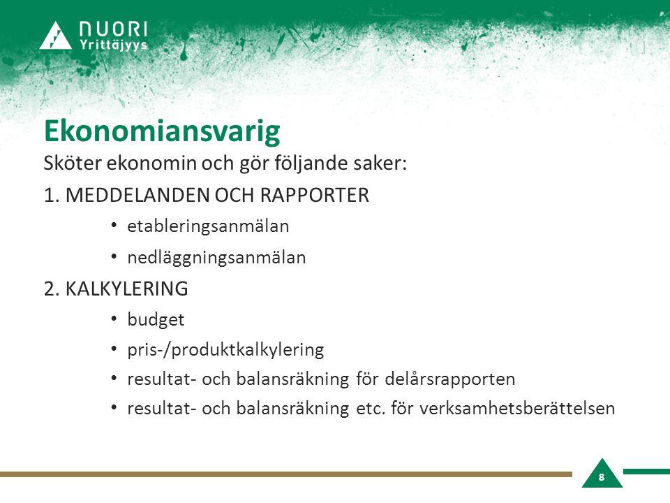 Ekonomiansvarig Sköter ekonomin och gör följande saker: 1.