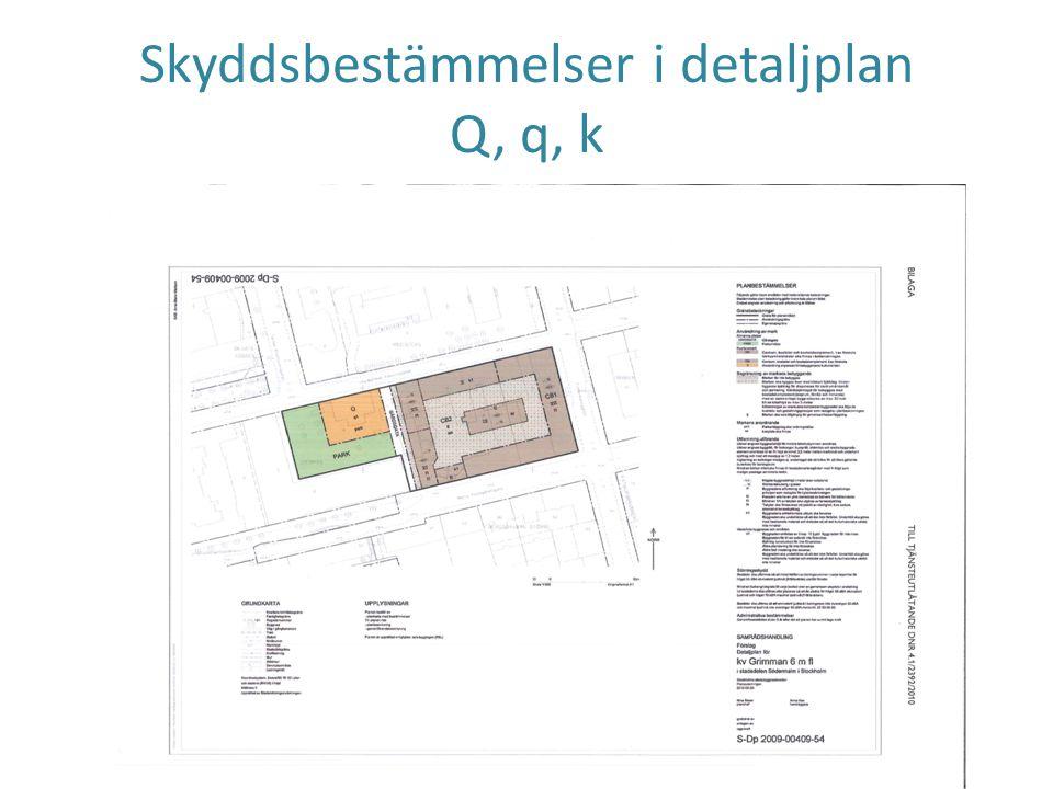Skyddsbestämmelser i detaljplan Q, q, k