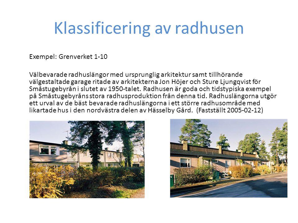 Klassificering av radhusen Exempel: Grenverket 1-10 Välbevarade radhuslängor med ursprunglig arkitektur samt tillhörande välgestaltade garage ritade av arkitekterna Jon Höjer och Sture Ljungqvist för Småstugebyrån i slutet av 1950-talet.