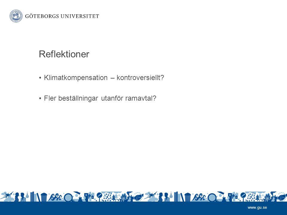 www.gu.se Reflektioner •Klimatkompensation – kontroversiellt? •Fler beställningar utanför ramavtal?
