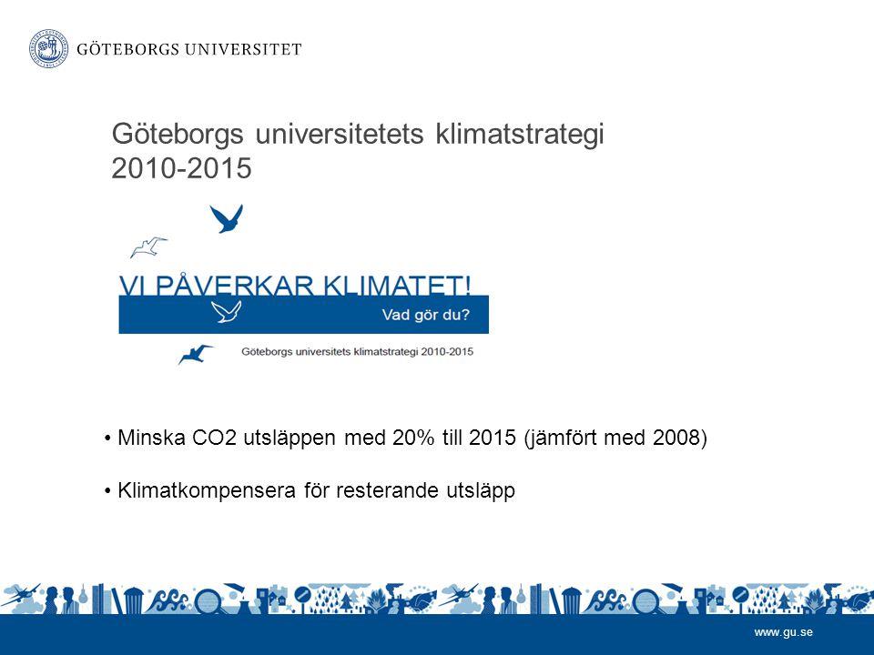 www.gu.se Göteborgs universitetets klimatstrategi 2010-2015 • Minska CO2 utsläppen med 20% till 2015 (jämfört med 2008) • Klimatkompensera för resterande utsläpp