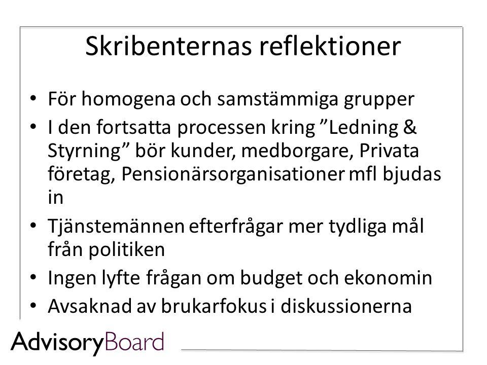 Skribenternas reflektioner • För homogena och samstämmiga grupper • I den fortsatta processen kring Ledning & Styrning bör kunder, medborgare, Privata företag, Pensionärsorganisationer mfl bjudas in • Tjänstemännen efterfrågar mer tydliga mål från politiken • Ingen lyfte frågan om budget och ekonomin • Avsaknad av brukarfokus i diskussionerna