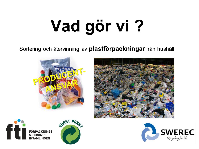 Vad gör vi ? Sortering och återvinning av plastförpackningar från hushåll PRODUCENT-ANSVAR