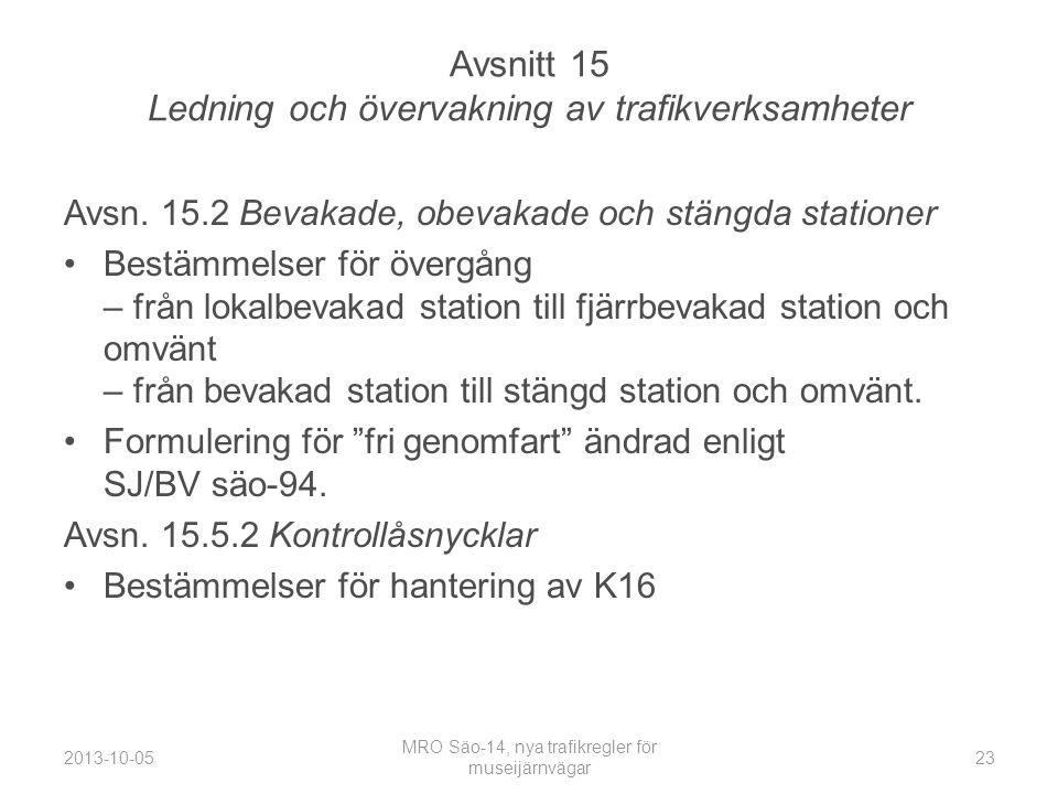 Avsnitt 15 Ledning och övervakning av trafikverksamheter Avsn.