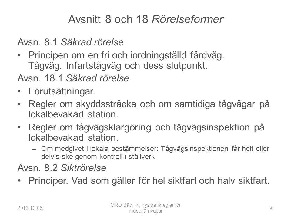Avsnitt 8 och 18 Rörelseformer Avsn.