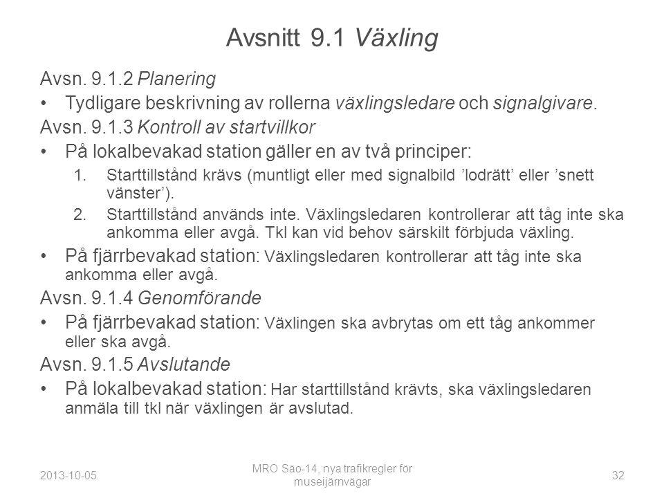Avsnitt 9.1 Växling Avsn.