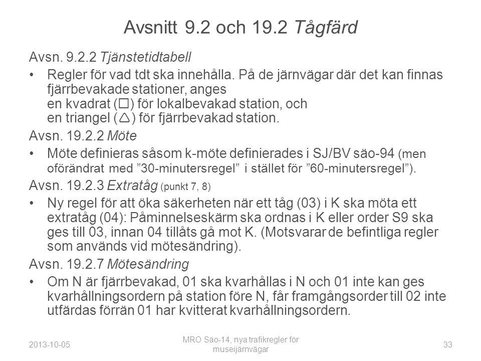 Avsnitt 9.2 och 19.2 Tågfärd Avsn.9.2.2 Tjänstetidtabell •Regler för vad tdt ska innehålla.