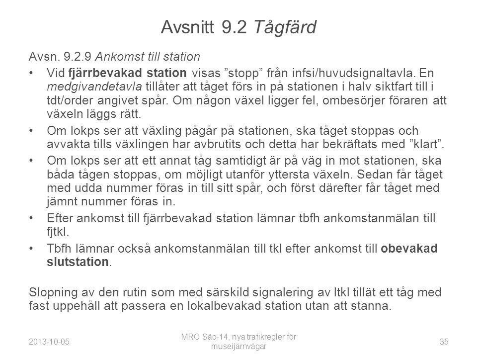 Avsnitt 9.2 Tågfärd Avsn.