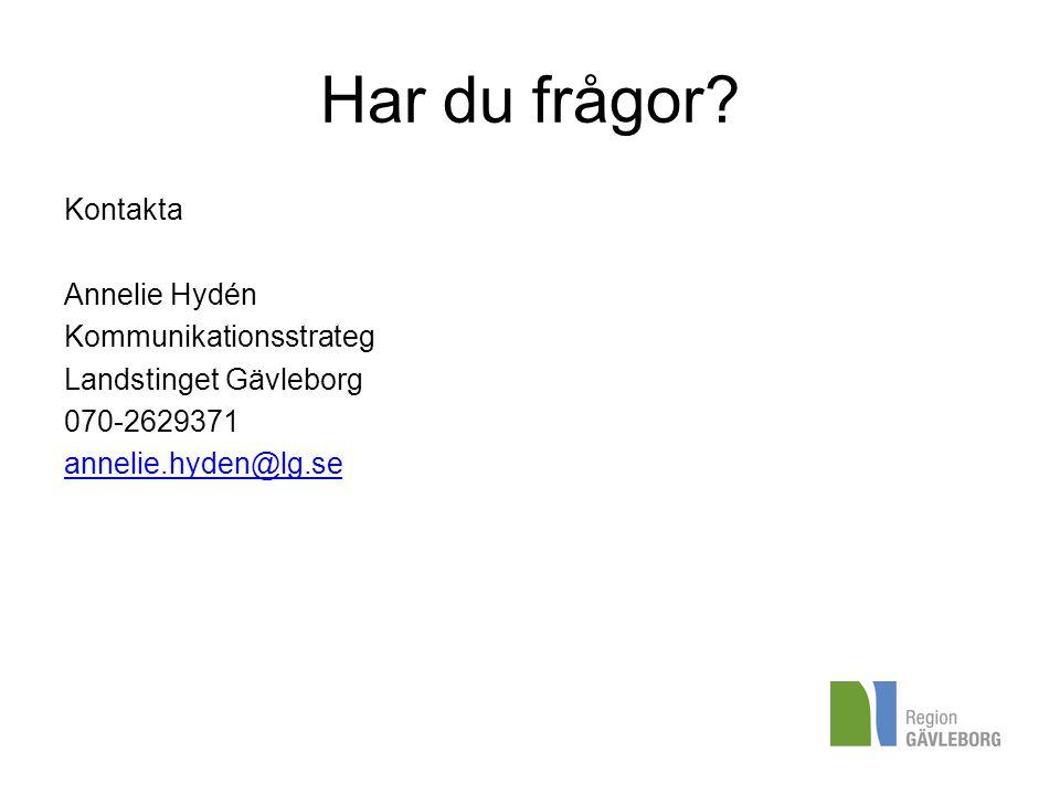Har du frågor? Kontakta Annelie Hydén Kommunikationsstrateg Landstinget Gävleborg 070-2629371 annelie.hyden@lg.se