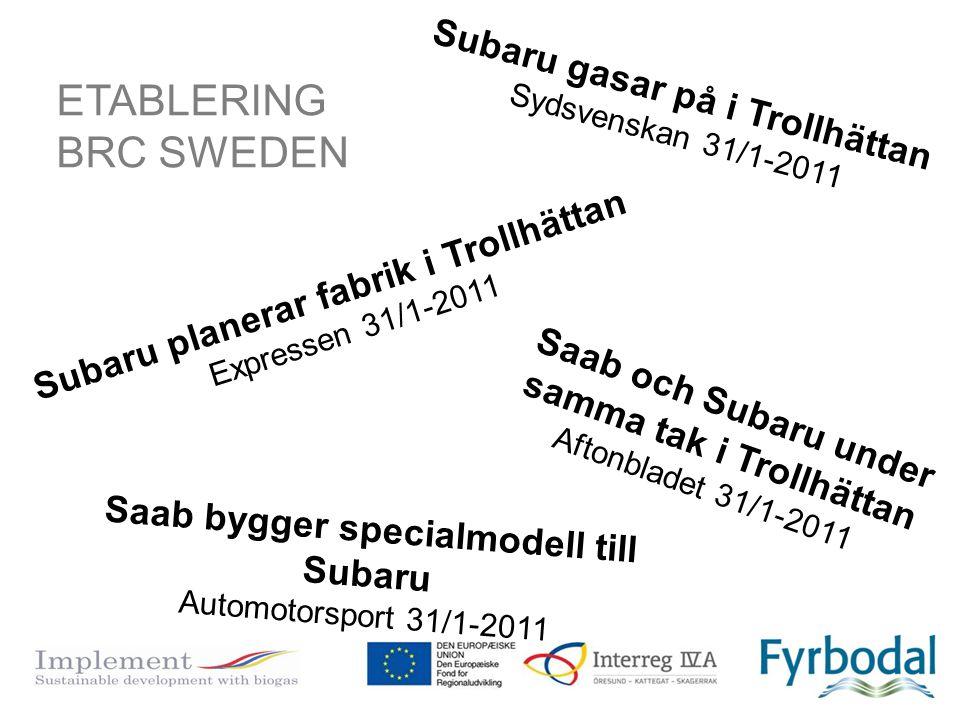 Subaru planerar fabrik i Trollhättan Expressen 31/1-2011 Subaru gasar på i Trollhättan Sydsvenskan 31/1-2011 Saab bygger specialmodell till Subaru Aut