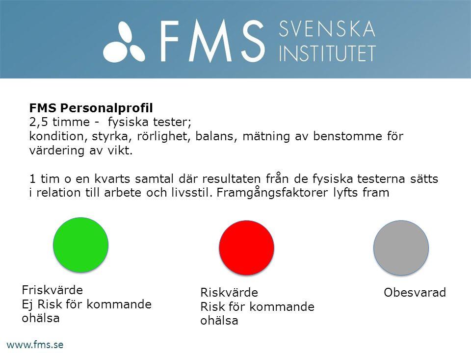 Riskvärde Risk för kommande ohälsa Friskvärde Ej Risk för kommande ohälsa Obesvarad FMS Personalprofil 2,5 timme - fysiska tester; kondition, styrka,