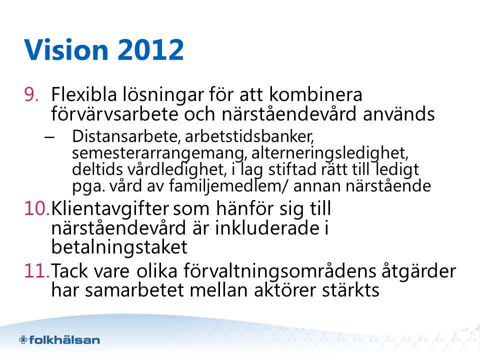 Vision 2012 9.Flexibla lösningar för att kombinera förvärvsarbete och närståendevård används – Distansarbete, arbetstidsbanker, semesterarrangemang, a