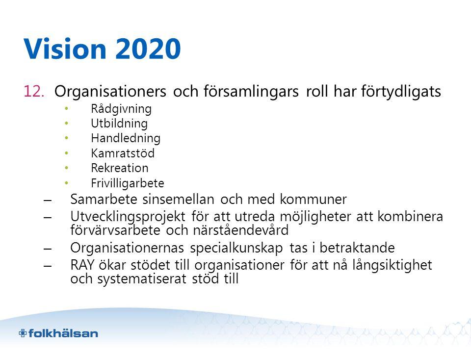 Vision 2020 12. Organisationers och församlingars roll har förtydligats • Rådgivning • Utbildning • Handledning • Kamratstöd • Rekreation • Frivilliga
