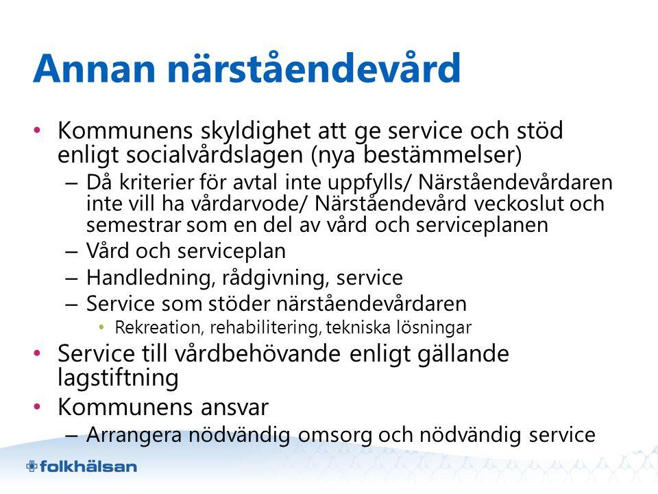 Annan närståendevård • Kommunens skyldighet att ge service och stöd enligt socialvårdslagen (nya bestämmelser) – Då kriterier för avtal inte uppfylls/