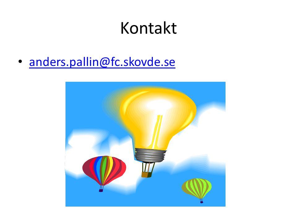 Kontakt • anders.pallin@fc.skovde.se anders.pallin@fc.skovde.se