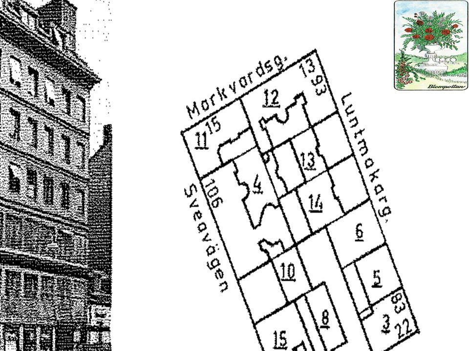 Blompottan 25 år • Markvardsgränd 1770, Markvardsgatan 1870 efter Handelsman Hans Georg Marcqvardt som 1705 fick ett fastebrev på hela kvarteret Blompottan.
