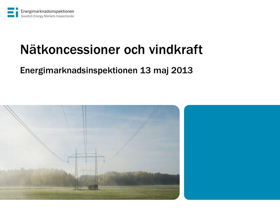 Det svenska elnätet • Lokalnät (0,4–vanligtvis 20 kV) drivs mestadels med stöd av nätkoncessioner för område • Regionnät (20/40–145 kV) och stamnät (220–400 kV) drivs med stöd av nätkoncessioner för linje • Ca 300 nätkoncessioner för område (fördelade på ca 160 företag) och ca 3000 nätkoncessioner för linje